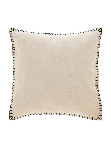 Federa arredo in cotone con cuciture Anahi, 100% cotone, Beige, Larg. 45 x Lung. 45 cm