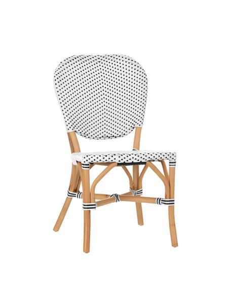 Sedia in rattan Laia, Rattan con intreccio in polietilene, Bianco, nero, Larg. 61 x Prof. 47 cm