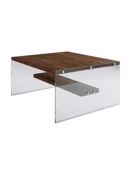 Stolik kawowy z nogami ze szkła Yessi, Blat: płyta wiórowa pokryta mel, Ciemny drewno, transparentny, S 75 x W 40 cm