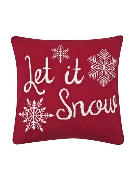 Gebreide kussenhoes Let it Snow in rood/wit met opschrift, Katoen, Rood, crèmewit, 40 x 40 cm