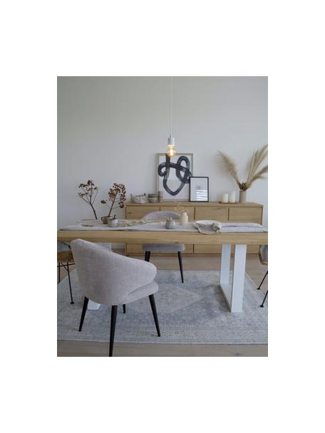 Kleine marmeren hanglamp Siv, Decoratie: metaal, Baldakijn: kunststof, Wit, messingkleurig, Ø 6  x H 10 cm