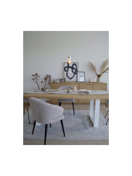 Lampada a sospensione in marmo Siv, Decorazione: metallo, Baldacchino: materiale sintetico, Bianco, ottonato, Ø 6 x Alt. 10 cm
