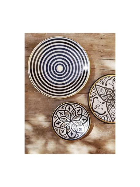 Plato llano artesanal Assiette, estilo marroquí, Cerámica, Negro, crema, oro, Ø 26 x Al 2 cm
