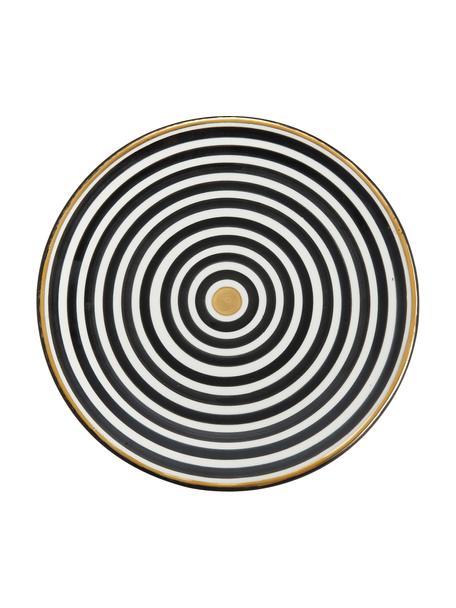 Handgemachter marokkanischer Speiseteller Assiette mit Goldrand, Keramik, Schwarz, Cremefarben, Gold, Ø 26 x H 2 cm