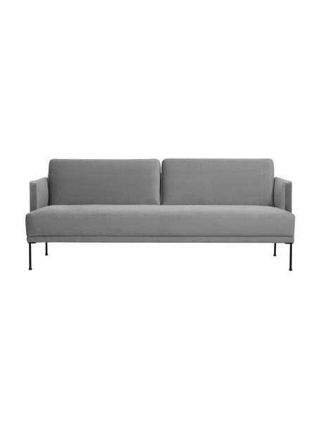 Sofa z aksamitu  z metalowymi nogami Fluente (3-osobowa), Tapicerka: aksamit (wysokiej jakości, Nogi: metal malowany proszkowo, Aksamitny jasny szary, S 196 x G 85 cm
