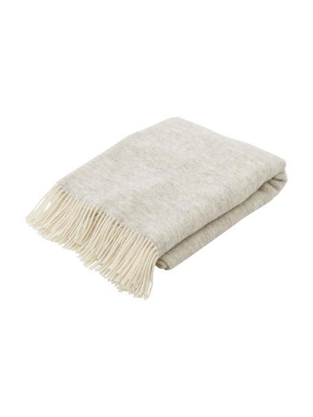 Manta de lana con flecos Tirol, 100%lana, Gris claro, blanco, An 140 x L 200 cm