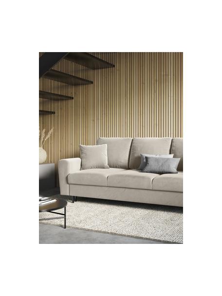 Sofa rozkładana z aksamitu z miejscem do przechowywania Moghan (3-osobowa), Tapicerka: aksamit poliestrowy Dzięk, Stelaż: lite drewno sosnowe, skle, Nogi: metal lakierowany, Beżowy, czarny, S 235 x G 100 cm