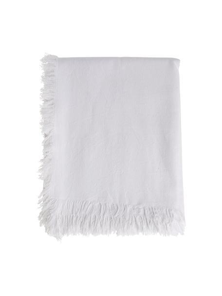 Tovaglia in cotone con frange Nalia, 100% cotone, Bianco, Per 4-6 persone (Larg. 160 x Lung. 160 cm)