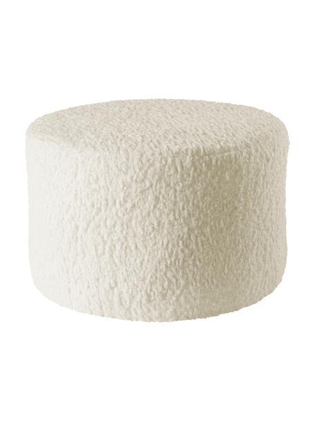 Pouf per bambini Marbella, Rivestimento: poliestere, Struttura: legno, Bianco crema, Ø 40 x Alt. 28 cm