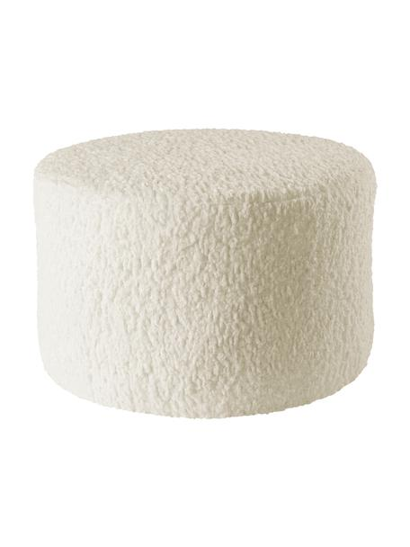 Pouf per bambini Marella, Rivestimento: poliestere, Struttura: legno, Bianco crema, Ø 40 x Alt. 28 cm