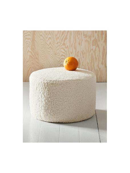 Puf infantil Marella, Funda: poliéster, Estructura: madera, Tapizado: blanco crema Patas: negro mate, Ø 40 x Al 28 cm