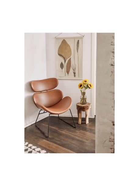 Moderne loungefauteuil Cazar van kunstleer, Bekleding: kunstleer (polyurethaan), Frame: gepoedercoat metaal, Cognackleurig, zwart, B 69 x D 79 cm