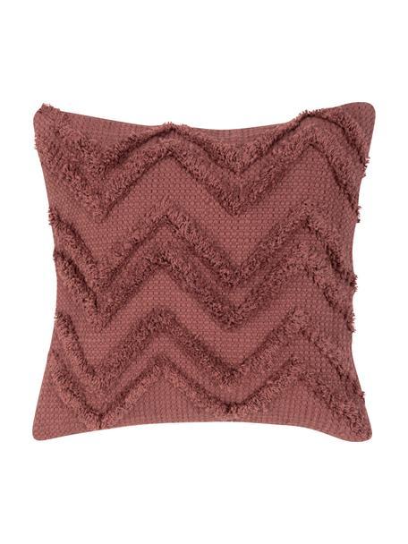 Boho kussenhoes Akesha met getuft zigzagpatroon, 100% katoen, Roodbruin, 45 x 45 cm