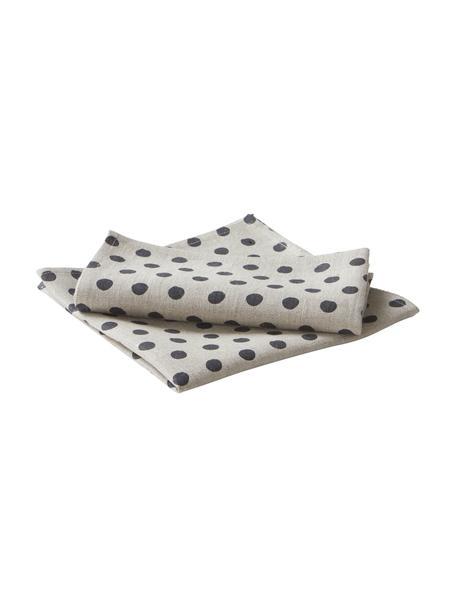 Gestippelde linnen servetten Dot, 2 stuks, 100% linnen, Beige, zwart, 45 x 45 cm