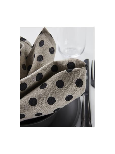 Gepunktete Leinen-Servietten Dot, 2 Stück, 100% Leinen, Beige, Schwarz, 45 x 45 cm