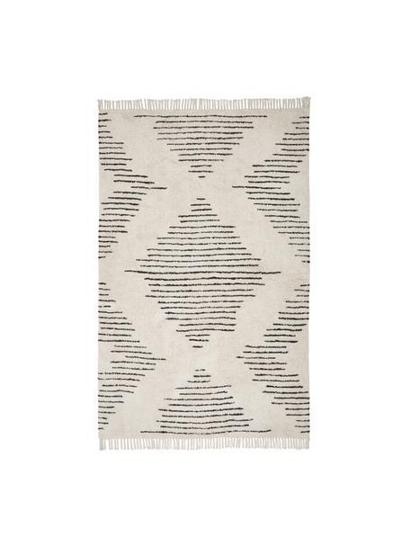 Alfombra artesanal de algodón con flecos Lines, estilo boho, 100%algodón, Beige, negro, An 120 x L 180 cm (Tamaño S)