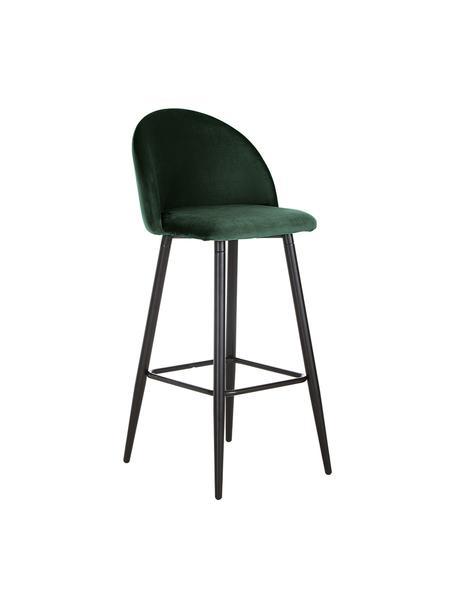 Krzesło barowe z aksamitu Amy, Tapicerka: aksamit (poliester) 2000, Nogi: metal malowany proszkowo, Ciemnyzielony, S 45 x W 103 cm