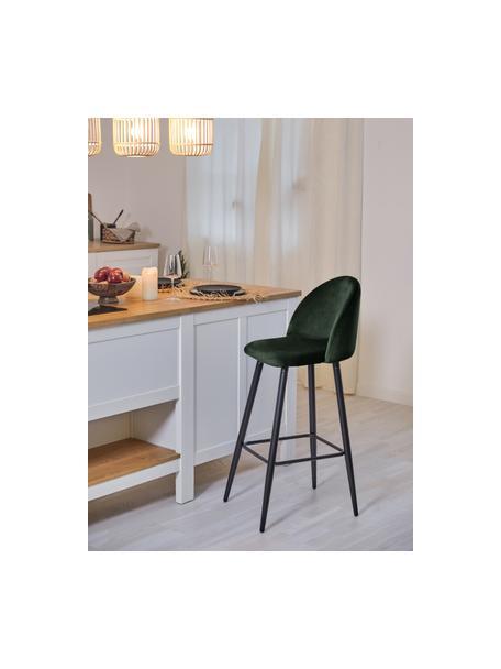 Fluwelen barstoel Amy in donkergroen, Bekleding: fluweel (polyester), Poten: gepoedercoat metaal, Donkergroen, 45 x 103 cm