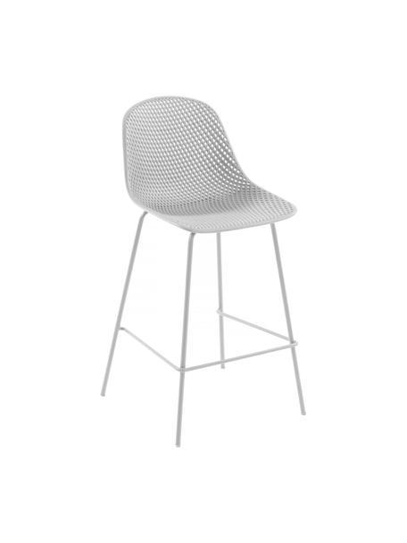 Metall-Barstuhl Quinby in Weiß, Gestell: Metall, lackiert, Sitzfläche: Kunststoff, lackiert, Weiß, 48 x 107 cm
