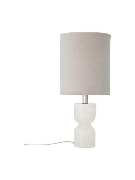 Fluwelen tafellamp Indee, Lampenkap: katoenfluweel, Lampvoet: albast, Wit, Ø 24 x H 55 cm