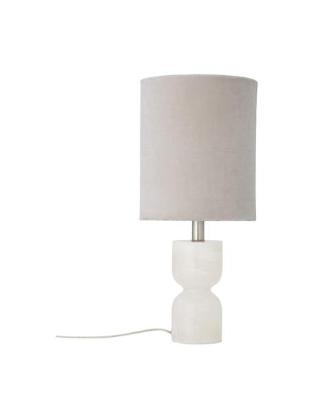 Lámpara de mesa grande Indee, Pantalla: terciopelo de algodón, Cable: plástico, Blanco, Ø 24 x Al 55 cm