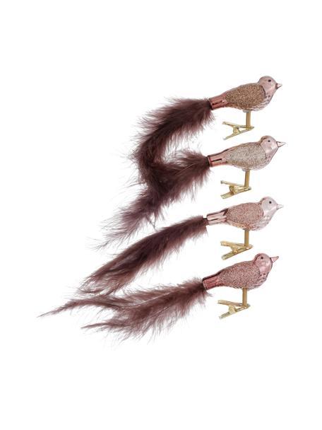 Vogel-Clips Lorana mit echten Federn, 4 Stück, Rosatöne, 17 x 4 cm