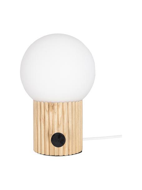 Lámpara de mesa regulable pequeña de madera Hubble, Pantalla: vidrio, Interruptor: metal, Cable: cubierto en tela, Beige, blanco, Ø 15 x Al 24 cm