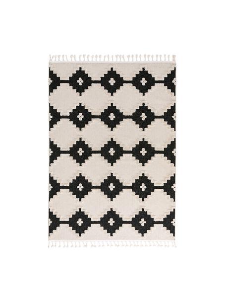 Teppich Oyo Square mit Hoch-Tiefmuster im Boho Stil, Flor: Polyester, Creme, Anthrazit, B 120 x L 180 cm (Größe S)