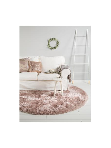 Okrągły dywan z wysokim stosem i połyskiem Lea, 50% poliester, 50% polipropylen, Blady różowy, Ø 120 cm (Rozmiar S)