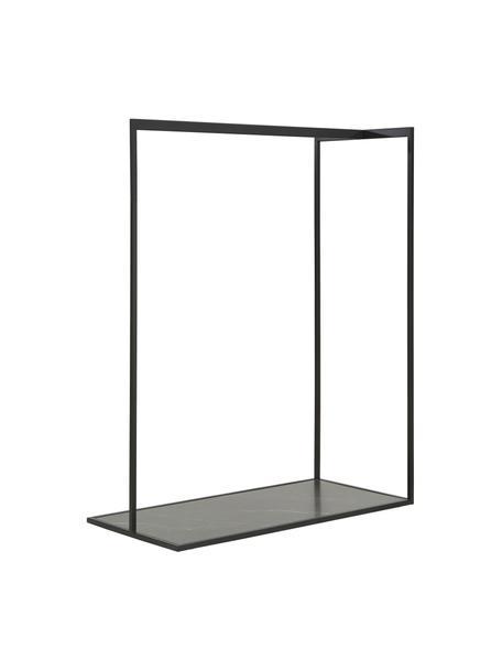 Kledingstang Pacey in marmerlook, Frame: gepoedercoat metaal, Plank: MDF, melamine bekleed, Zwart, 120 x 152 cm