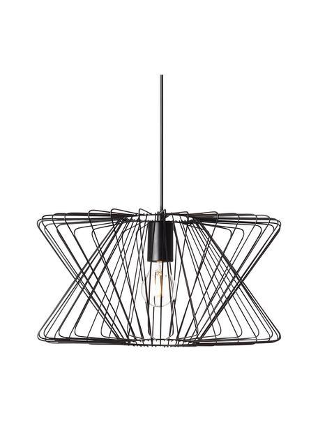 Hanglamp George Town van metaal, Lampenkap: gecoat metaal, Baldakijn: gecoat metaal, Zwart, Ø 40 x H 20 cm