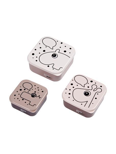 Komplet pudełek na przekąski Contour, 3 elem., Blady różowy, Komplet z różnymi rozmiarami
