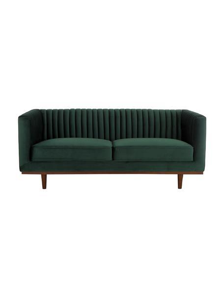 Sofa z aksamitu z drewnianymi nogami Dante (2-osobowa), Tapicerka: aksamit poliestrowy, Tapicerka: pianka poliuretanowa, Aksamitny zielony, S 174 x G 87 cm