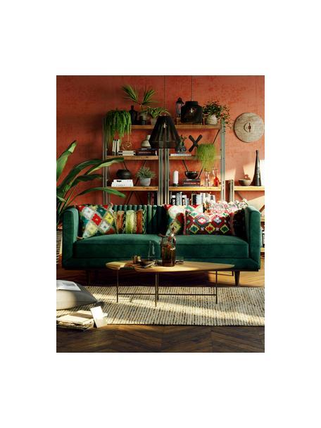 Fluwelen bank Dante (2-zits) in groen met houten poten, Bekleding: polyesterfluweel, Frame: gelakt rubberhout, Groen, B 174 x D 87 cm