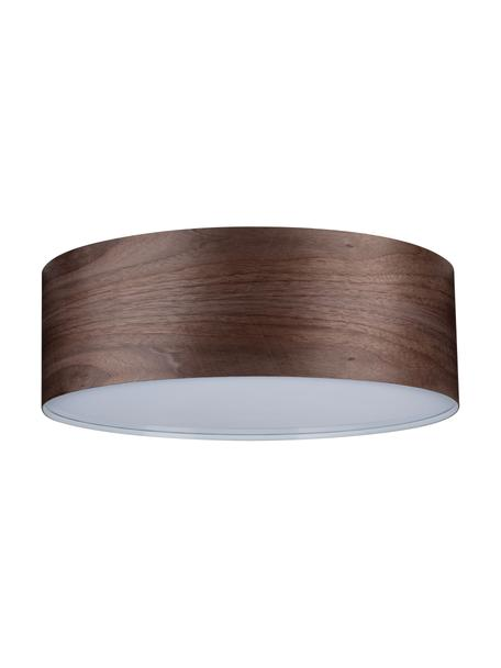 Plafondlamp Neordic van hout, Lampenkap: hout, Diffuser: kunststof, Bruin, Ø 45 x H 15 cm