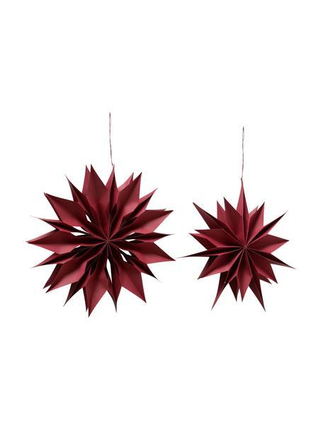 Stern-Anhänger Kassia Ø 40 cm, 2 Stück, Papier, Rot, Ø 40 x T 8 cm
