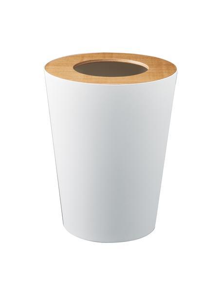 Afvalemmer Rin, Deksel: hout, Wit, bruin, Ø 23 x H 28 cm