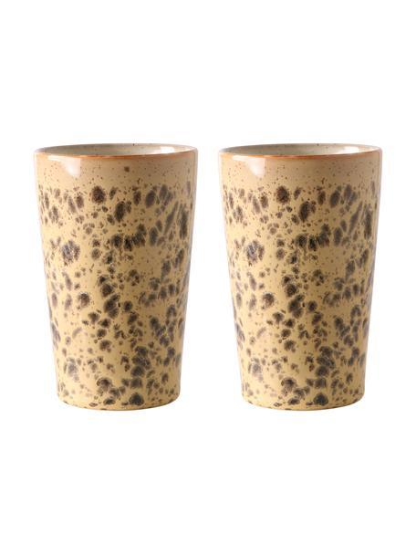 Tazza senza manico fatta a mano in stile retrò 70's 2 pz, Terracotta, Arancione, marrone, Ø 9 x Alt. 14 cm