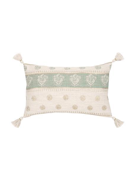 Funda de cojín con borlas Jasmine, 100%algodón, Beige, verde menta, dorado, An 30 x L 50 cm