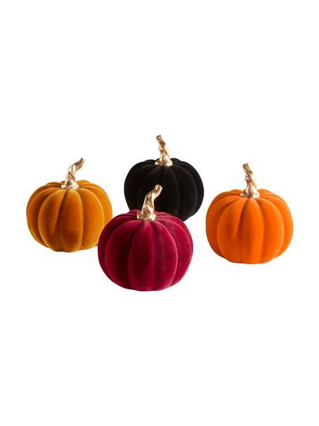 Set de calabazas decorativas Mercy, 4pzas., Poliresina con tacto de terciopelo, Naranja, rosa, negro, Ø 9 x Al 9 cm