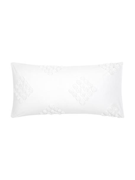 Poszewka na poduszkę z perkalu  z tuftowaną dekoracją Fia, 2 szt., Biały, S 40 x D 80 cm