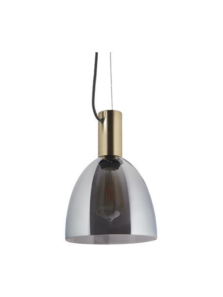 Kleine Pendelleuchte Lebalio aus Rauchglas, Lampenschirm: Rauchglas, Baldachin: Metall, vermessingt, Grau, Ø 20 cm