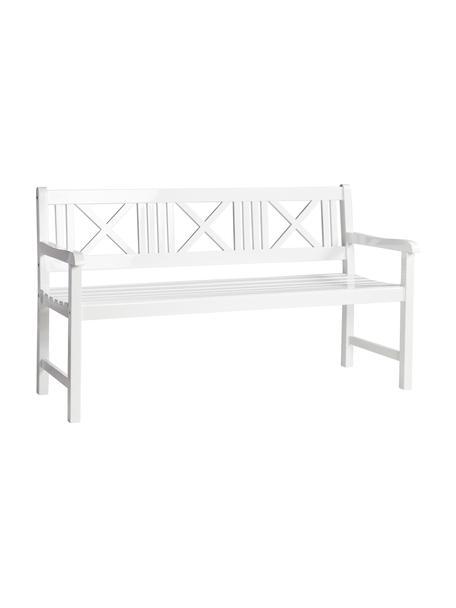 Garten-Sitzbank Rosenborg aus Holz in Weiß, Mahagoniholz, lackiert, Weiß, 150 x 89 cm