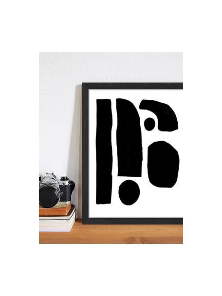Oprawiony druk cyfrowy Geometric Collage, Czarny, biały, S 33 x W 43 cm