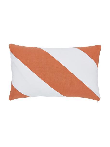 Gestreifte Kissenhülle Ren in Orange/Weiß, 100% Baumwolle, Weiß, Orange, 30 x 50 cm