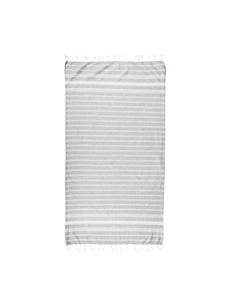 Gestreepte hamamdoek Surfside met franjes, 100% katoen, Lichtgrijs, 90 x 170 cm