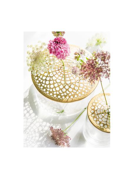 Komplet wazonów XS z metalową pokrywką Kastanje, 2 elem., Wazon: transparentny Pokrywka: mosiądz, Komplet z różnymi rozmiarami