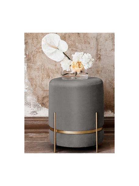 Fluwelen poef Elva, Bekleding: katoenfluweel, Poten: gepoedercoat metaal, Grijs, goudkleurig, Ø 38 x H 45 cm