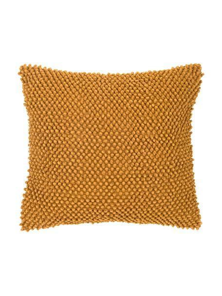 Kussenhoes Indi met gestructureerde oppervlak in mosterdgeel, 100% katoen, Geel, 45 x 45 cm