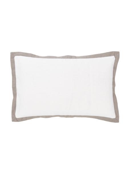 Poszewka na poduszkę z lamówką Mira, 55% len, 45% bawełna, Biały, S 30 x D 50 cm